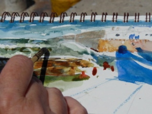 Demo sketch at the seawall in Essaouria, April 2013