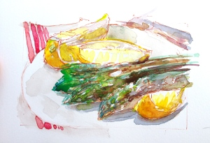 E.'s watercolor sketch of asparagus.