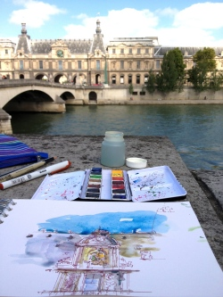 painting on the Seine, paris