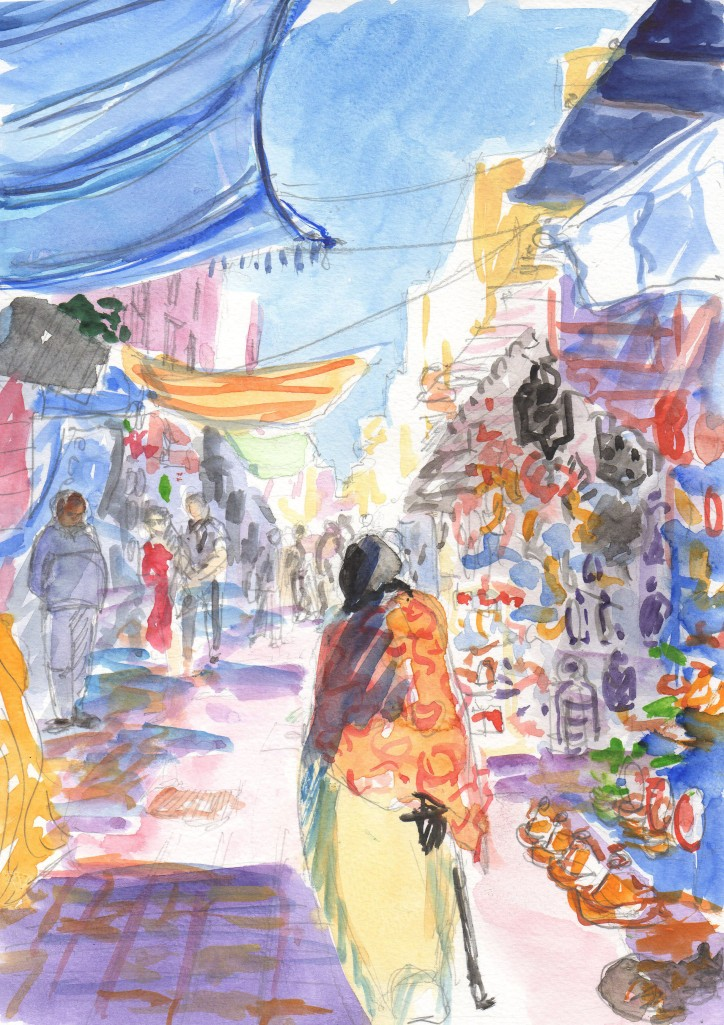 street in essaouira, morocco, watercolor