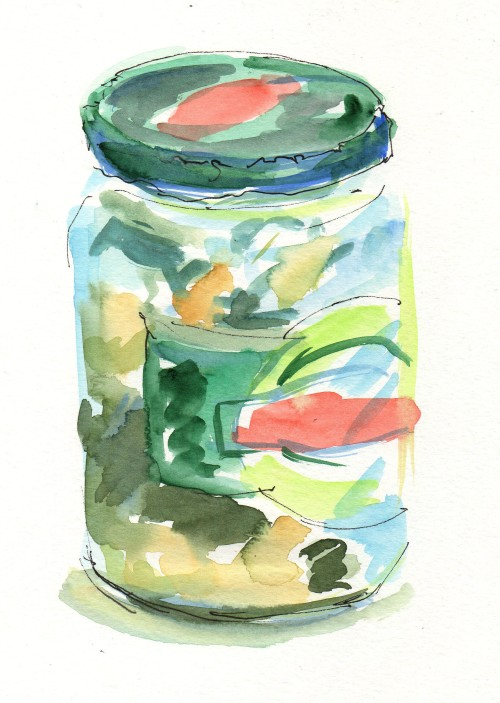 pickle jar painting, egg timer