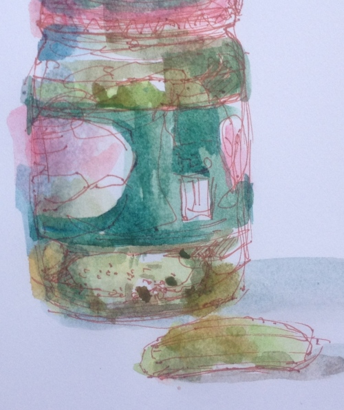 pickle jar water-colour