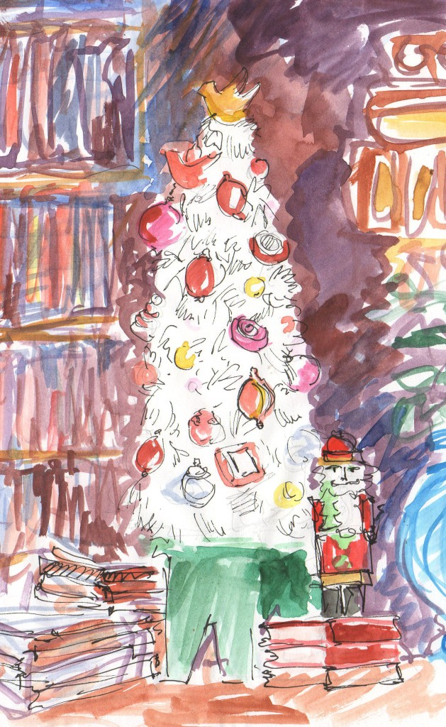 feather christmas tree with red ornaments