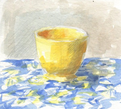 yellow thrift store cup