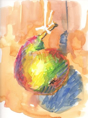 watercolor pear on a string, again