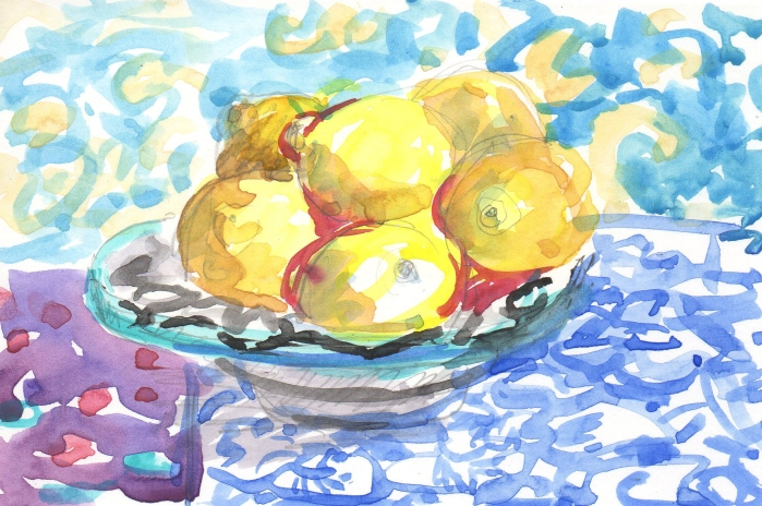 watercolor lemons in moroccan dish