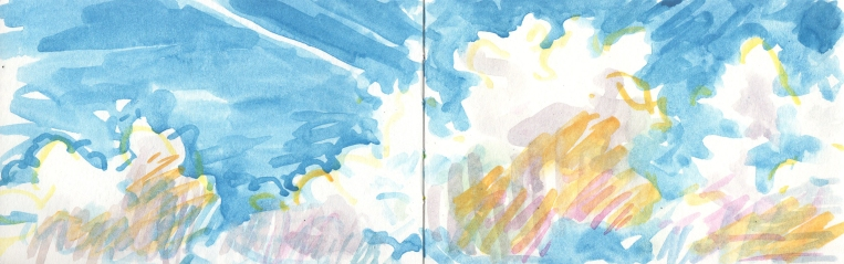clouds in a blue sky watercolor sketch