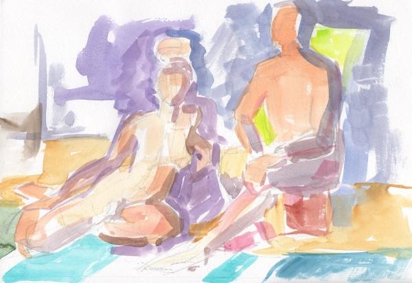 figure sketch watercolor
