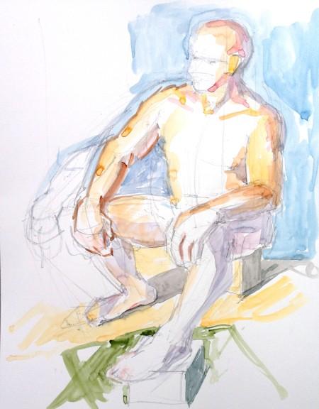 male figure study watercolor
