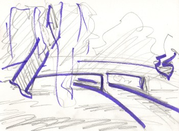 perspective sketch, bridge