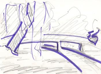 perspective sketch, bridge