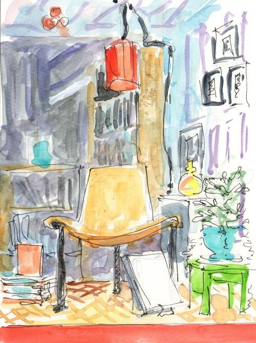 mid century modern chair in bookstore window