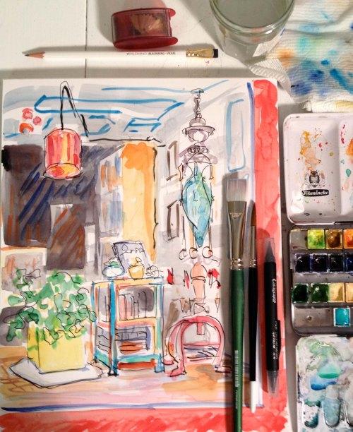 bookstore window painting big brush