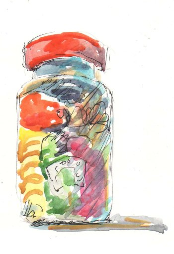tiny colorful jar sketch