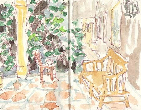 on the porch sketch