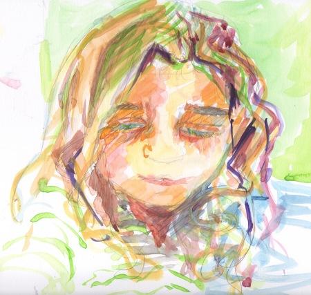 portrait sketch, at work