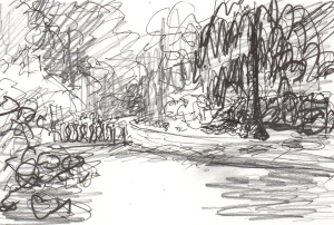 pen and ink landscape drawing
