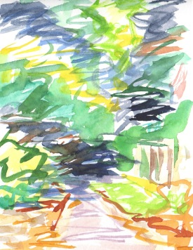 watercolor sketch landscape woods