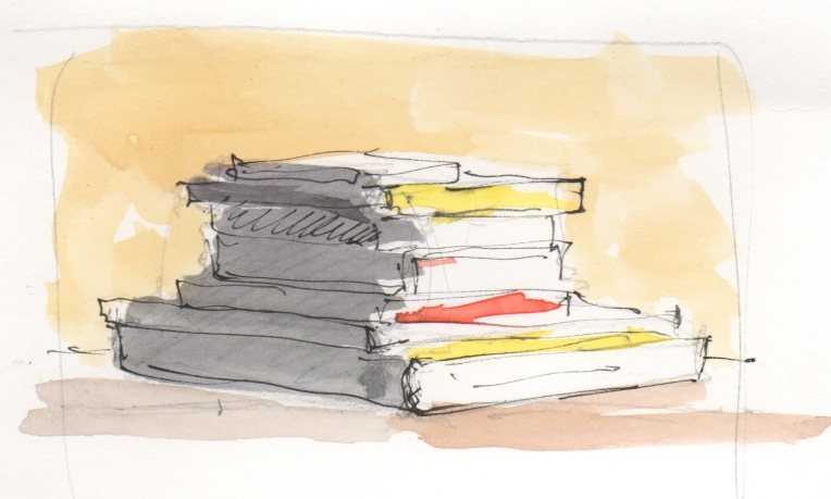 stack of books, watercolor – moveable paintbox