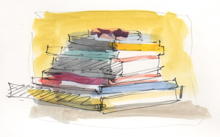 stack of books watercolor