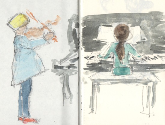 red socks, violin, piano
