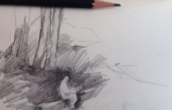 artist in the woods pencil sketch