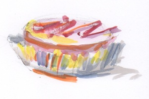 little cake watercolor sketch