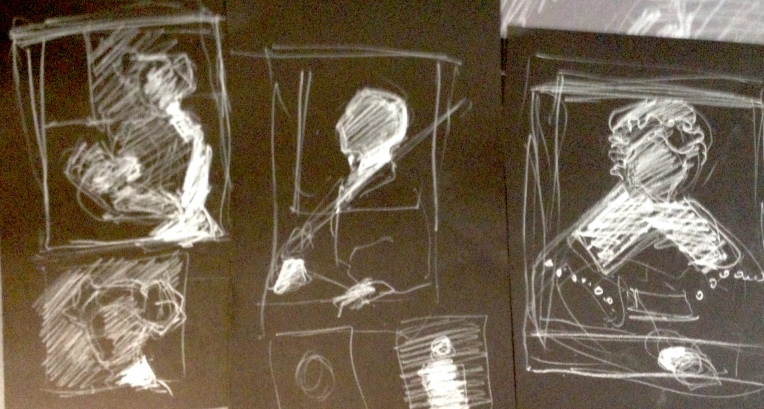 thumbnail portraits in white chalk on black paper