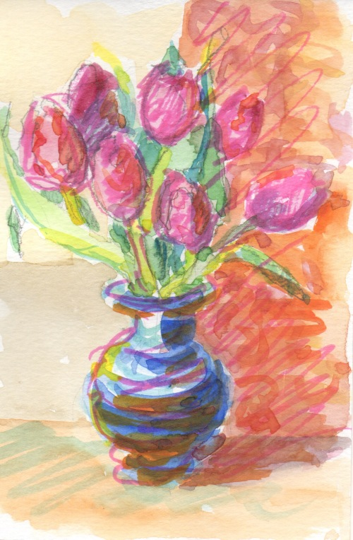 tulips with pink highlighter