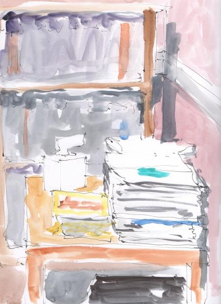 waiting room bookshelf sketch