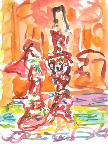 colorful fashion watercolor sketch
