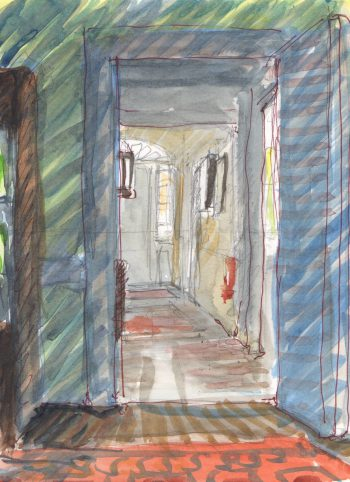 hallway watercolor sketch