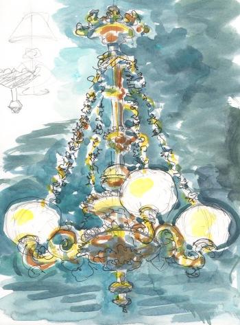 chandelier watercolor sketch