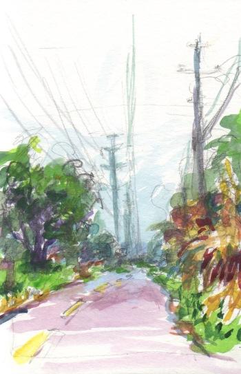 early morning bike path