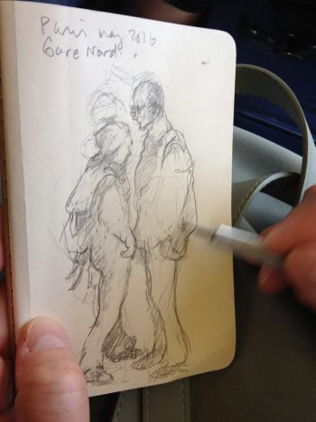 figure sketch on the platform at Gare du Nord paris