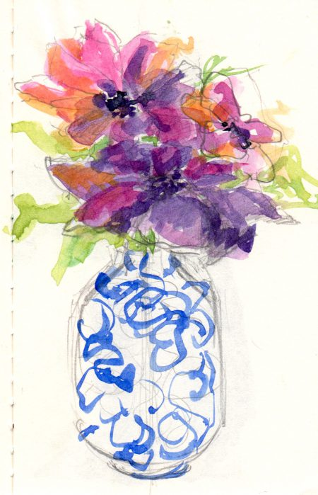 clematis in a vase