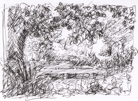 landscape pen and ink sketch bioswale providence college