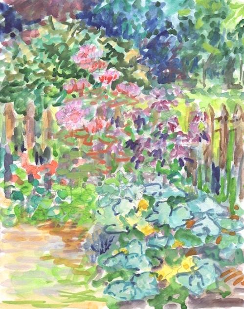 garden watercolor painting