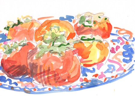 persimmons on Masons plate