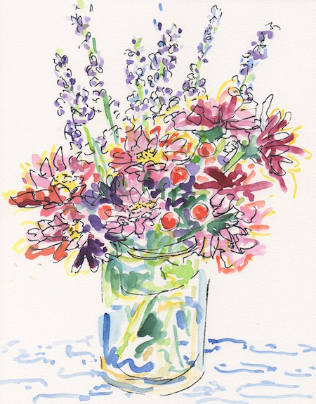 lavener and pink flowers bouquet watercolor