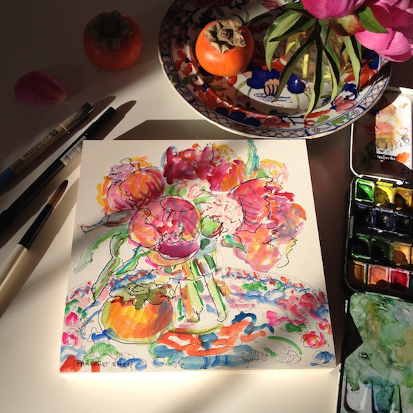 peonies watercolor with persimmon