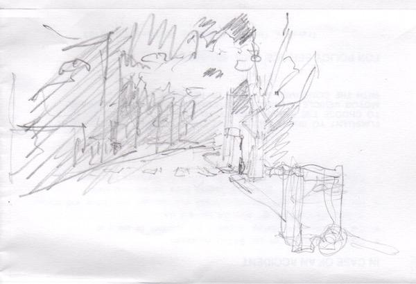 pencil sketch, street
