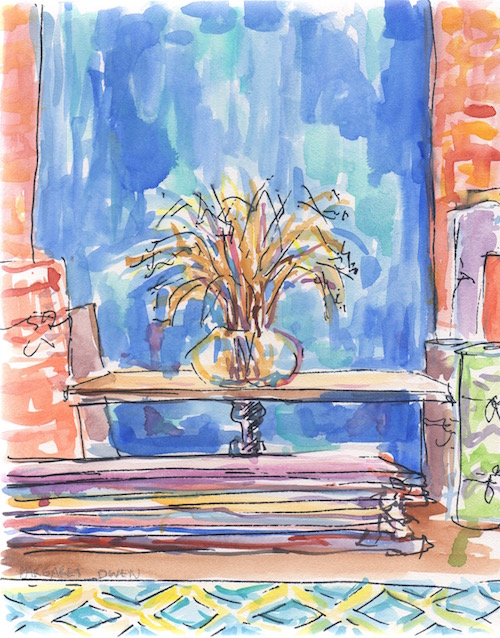 carpet shop watercolor sketch