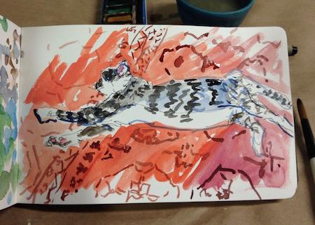 long cat watercolor